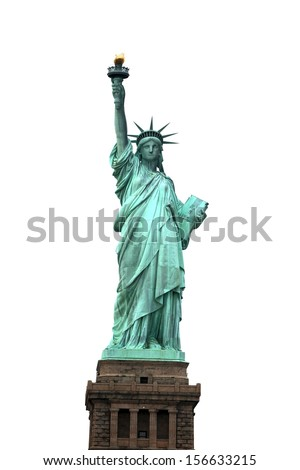 NY Statue of Liberty isolated on white - stock photo