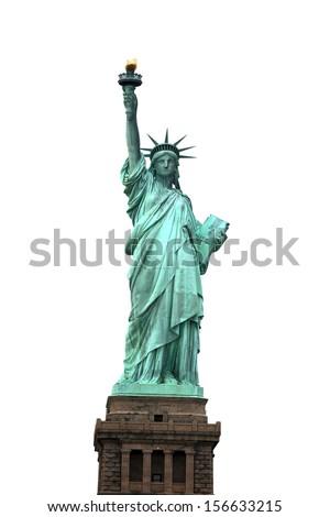 NY Statue of Liberty isolated on white - stock photo