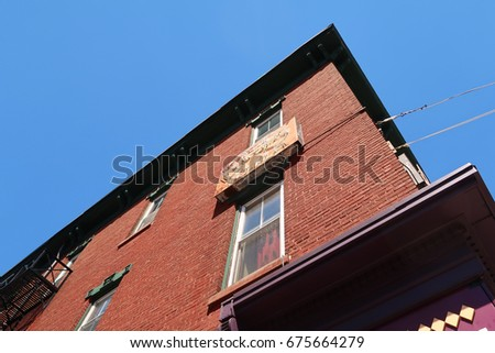 NYACK, NY - JULY 9, 2017: Looking up at the building on the corner of Main St. and Park St. in Nyack.  Editorial use only.