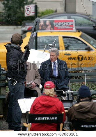 "NYC - APRIL 14: Actor Richard Gere on the set of his latest movie, Arbitrage,"" currently being filmed in New York City on Wednesday, April 14, 2011."