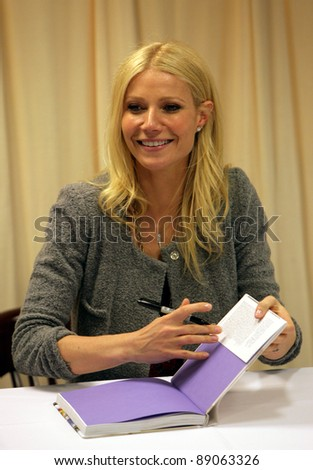 NYC - APRIL 14: Actress Gwyneth Paltrow signs copies of her cookbook, My Father's Daughter, at Barnes & Noble on 5th Avenue in New York City on Thursday, April 14, 2011.