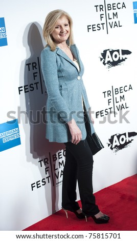 """NYC - APRIL 20 - Arianna Huffington on the red carpet for the opening night of the Tribeca Film Festival and world premier of """"The Union"""" on April 20, 2011 in New York City, NY - stock photo"""