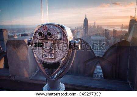 nyc binocular new york - stock photo
