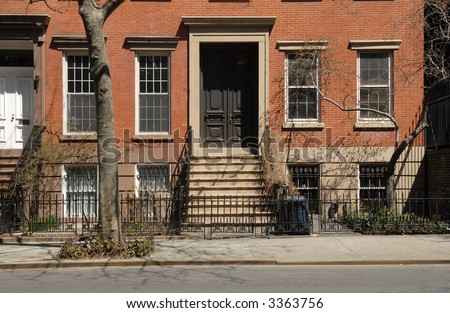 NYC Brownstones - stock photo