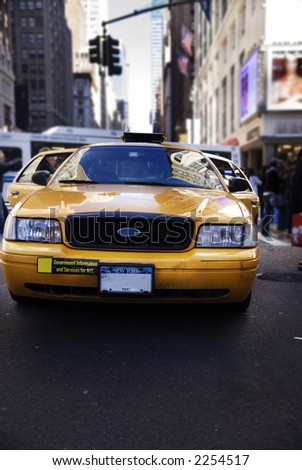 NYC Cab at Madison Square Garden - stock photo