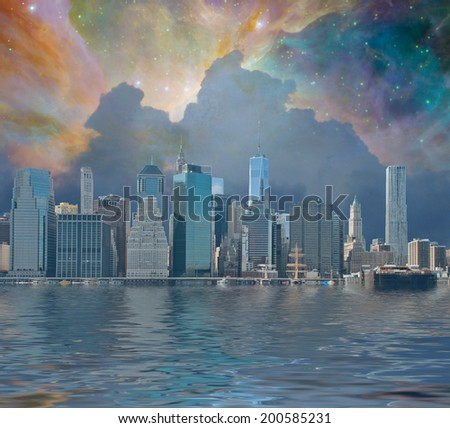 NYC Fantasy Elements of this image furnished by NASA - stock photo