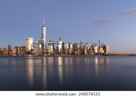 NYC - Golden Sunset - stock photo