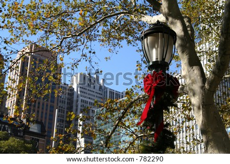 NYC Holiday Lamp - stock photo