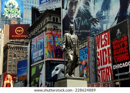 NYC - July 4, 2009: Statue of famed showman George M. Cohan and huge outdoor billboards promoting Broadway musicals in Times Square - stock photo