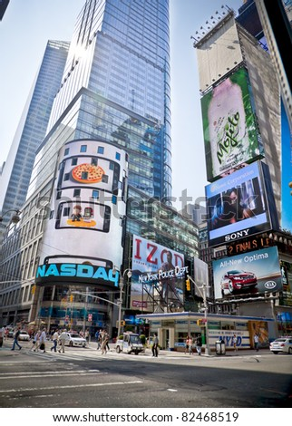 NYC - 9 JUNE: A street view at the headquarters of the NASDAQ Stock Exchange, the second largest trading market in the world. June 9th, United States, New York City, 2011 - stock photo