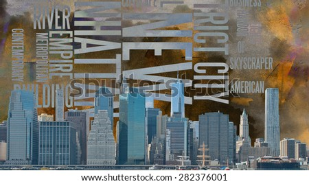 NYC Landscape with NYC based Text - stock photo