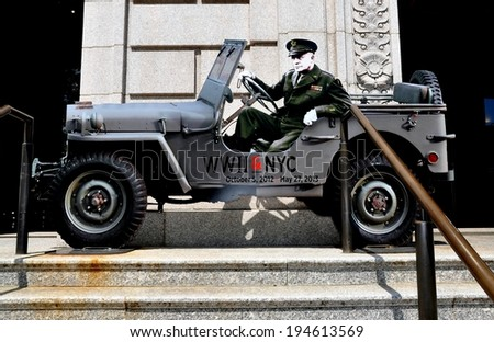 NYC - May 11, 2013:  A cut-out of General Dwight D. Eisenhower sitting in a jeep promotes the WWII & NYC exhibition at the New York Historical Society Museum - stock photo