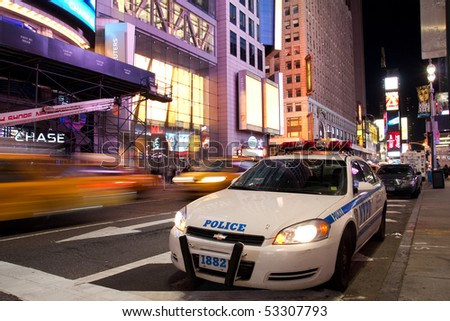 NYC - MAY 8: New York Police car is standing by on Times Square New York in the evening after the attempted car bomb incident happened on May 1, 2010. The city has tightened up security. - stock photo