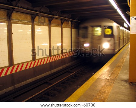 NYC MTA SUbway - W Train at CIty Hall Station - stock photo