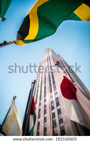 NYC, NEW YORK � CIRCA FEBRUARY 2014: A low angle view of a building at Rockefeller Center. - stock photo