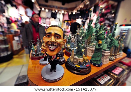 NYC - OCT 08:A statue of Barak Hussain Obama in a gift shop on Oct 08 2009.He is the 44th and current President of the United States and the first African American to hold the office. - stock photo