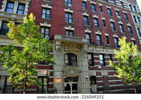 NYC - October 26, 2014:  546 West 147th Street, the apartment building in which Dr. Craig Spencer, the city's first Ebola patient, resides - stock photo