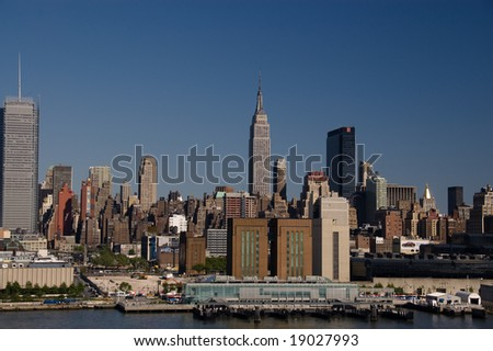 NYC Skyline Seen from Hudson River - stock photo