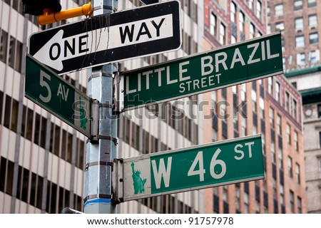 NYC street signs, New York. - stock photo