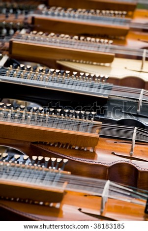 Nyckelharpas - traditional Swedish musical instruments - stock photo