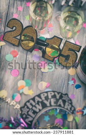 NYE Background: Focus On Glitter Glasses For 2015 - stock photo