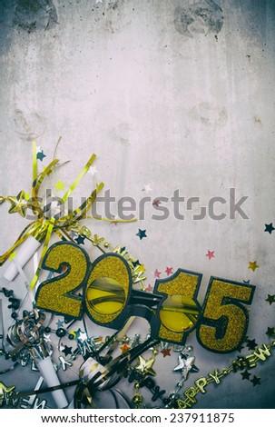 NYE Background: Glitter Glasses To Celebrate 2015 - stock photo