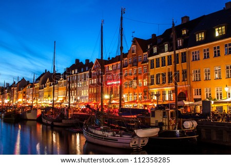 Nyhavn at night in Copenhagen, Denmark - stock photo