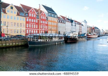 Nyhavn channel in Copenhagen, Denmark - stock photo