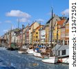 Nyhavn, Copenhagen at spring - stock photo