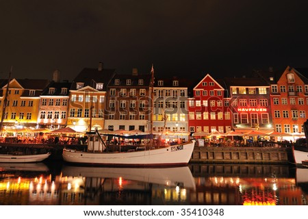 Nyhavn Copenhagen Denmark on summer night - stock photo