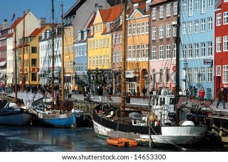 Nyhavn harbour in winter (Copehagen, Denmark) - stock photo