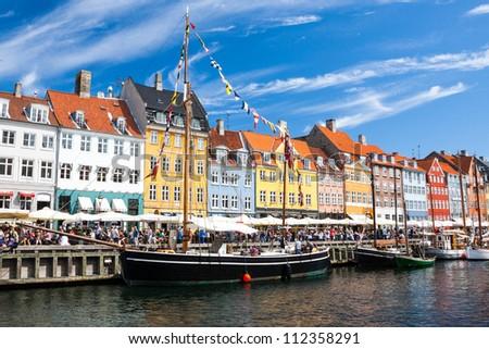 Nyhavn in Copenhagen, Denmark - stock photo