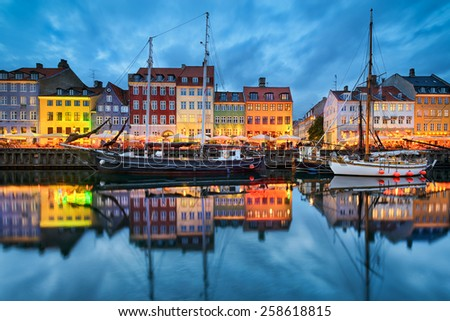 Nyhavn in Copenhagen, Denmark at night - stock photo