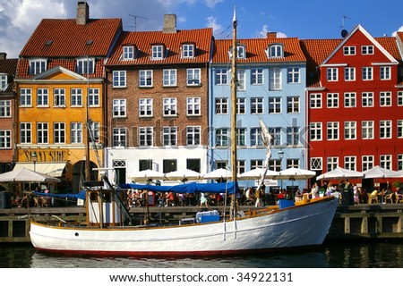 Nyhavn (new Harbor) in Copenhagen, Denmark. - stock photo