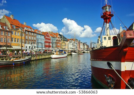 Nyhavn (new Harbor) in Copenhagen, Denmark. - stock photo