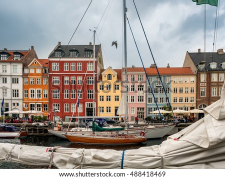 Nyhavn quarter in Copenhagen harbor, Denmark