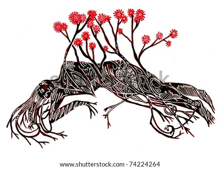 Nymph with Red Flowers