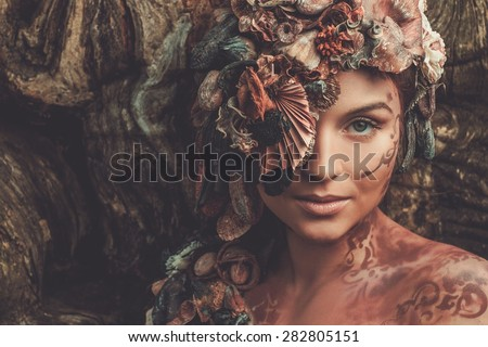 Nymph woman in a magical woman  - stock photo