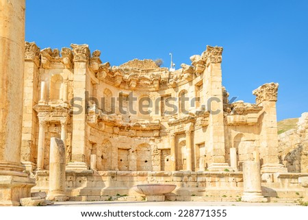 Nymphaeum in the Roman city of Gerasa, preset-day Jerash, Jordan. It is located about 48 km north of Amman. - stock photo