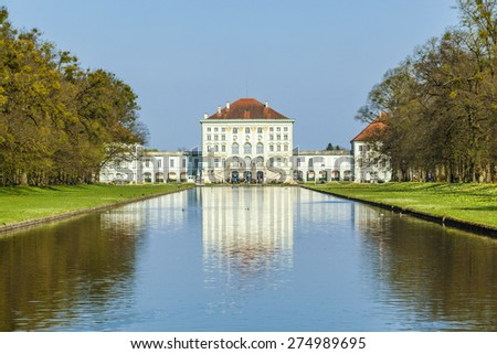 Nymphenburg castle grounds in Munich, Germany - stock photo