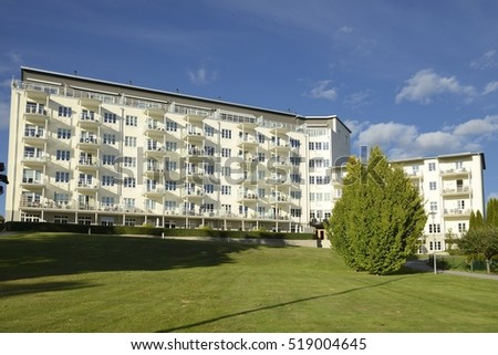 Nynashamn - a view of a apartment buildings on a public park. Nynashamn is located far south in Sodertorn, 58 kilometers south of Stockholm.