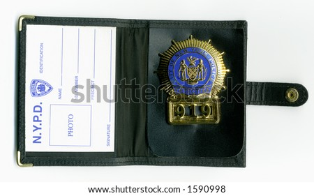 NYPD detective ID wallet. - stock photo