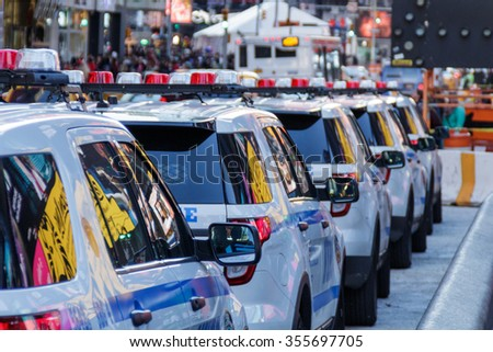 NYPD police cars at Time Square - stock photo