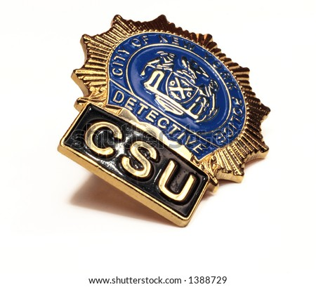 nypd police detective badge close up on white background - stock photo