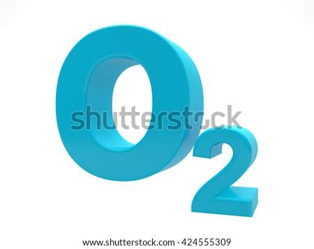 O2 - Blue Oxygen molecule symbol isolated on white - stock photo