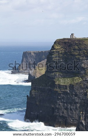 O' Briens Tower looks out over Cliffs of Moher, County Clare, Ireland - stock photo