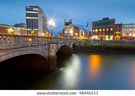 O'Connell street bridge in Dublin at night, Ireland - stock photo