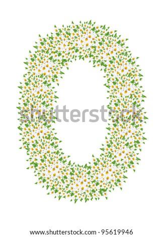 O, daisy flower alphabet isolated on white background - stock photo