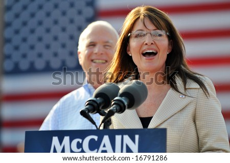 O'FALLON - AUGUST 31: Saran Palin speaks to the crowd at an appearance at a rally in O'Fallon near St. Louis, MO on August 31, 2008 - stock photo