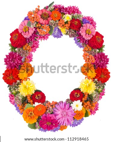 O,flower alphabet isolated on white - stock photo